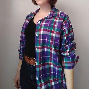 Vintage plaid flannel long shirt